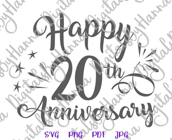 Happy 20th Anniversary SVG Files for Cricut China Anniversary Gift Him Her Clipart