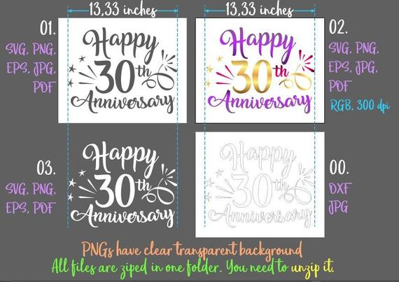 Happy 30th Anniversary SVG Pearl Wedding Lettering Wording Greeting Invitation Silhouette cut