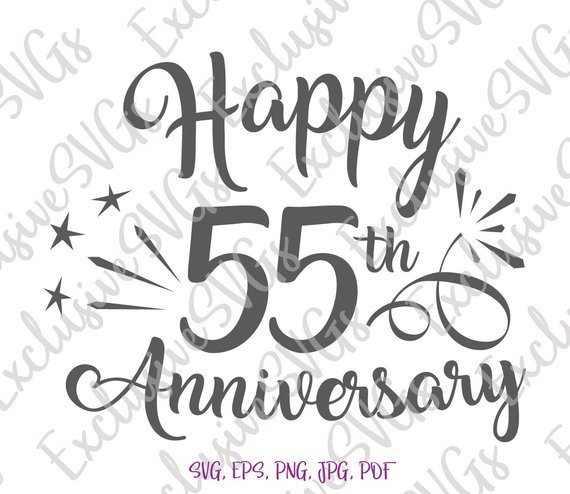 Happy 55th Anniversary SVG Emerald Wedding Fifty Five Years Gift Greeting Clipart