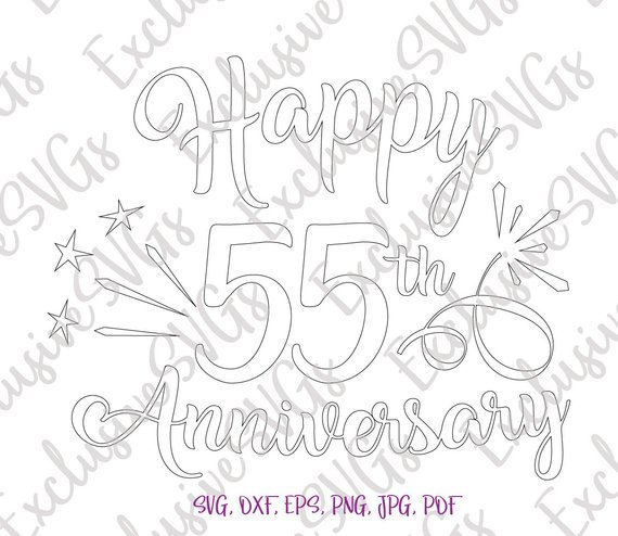 Happy 55th Anniversary SVG Emerald Wedding Fifty Five Years Silhouette cut