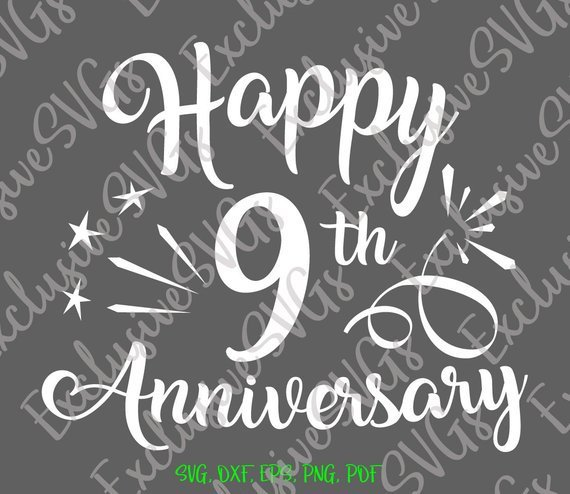 Happy 9th Anniversary SVG Pottery Copper Wedding Lettering Wording Greeting Clipart