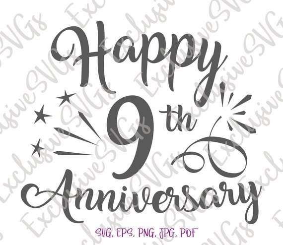 Happy 9th Anniversary SVG Pottery Copper Wedding Nine Years Congrats Sign