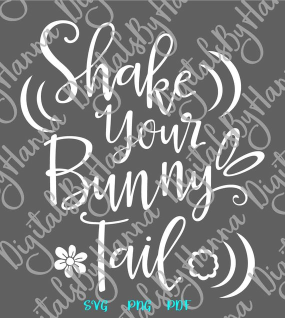 Happy Easter Clipart SVG Shake Your Bunny Tail Cute Baby Onesie Word Sign Tale Print