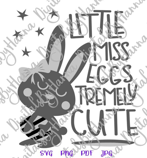 Happy Easter SVG Little Miss Eggstremely Egg Girl Bunny t-Shirt Word Sign Tee tShirt Print
