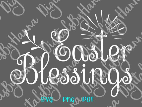 Happy Easter SVG Saying Easter Blessings Christian Cross t-Shirt Word Sign