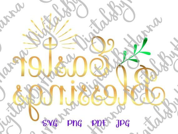 Happy Easter SVG Saying Easter Blessings SVG Christian Cross Clipart Print Cut