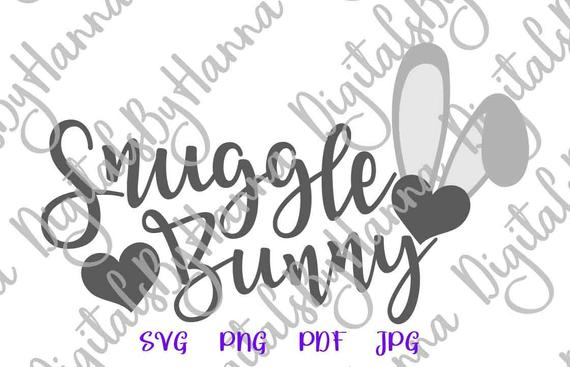 Happy Easter SVG Snuggle Bunny Clipart Onesie t-Shirt Word Sign Print Cut