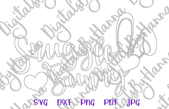 Happy Easter SVG Snuggle Bunny Word Sign Print Silhouette Cut