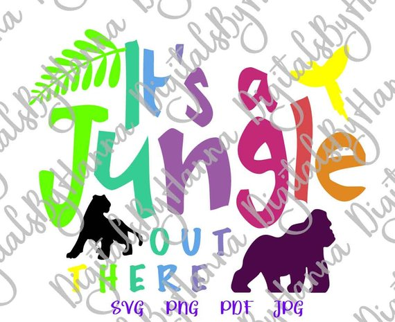 Zoo Animal SVG Files for Cricut Saying It's Jungle Out There Clipart Funny Quote