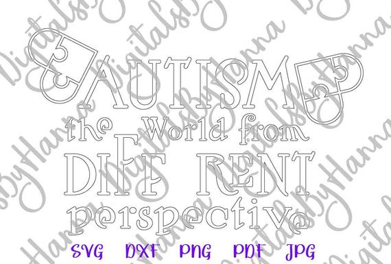 Autism SVG Awareness Shirt World from different Perspective Silhouette Laser Cut