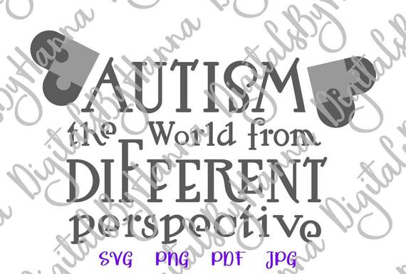 Autism World from different Perspective SVG Awareness Shirt Sign Heart Puzzle Laser Cut