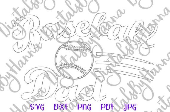 Baseball Dad SVG Papa Father Player Proud Sport Family Silhouette Dxf Laser Cut