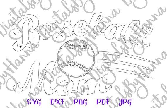 Baseball SVG Mama Mom life Player Loud Proud Sport Word Silhouette Laser Cut