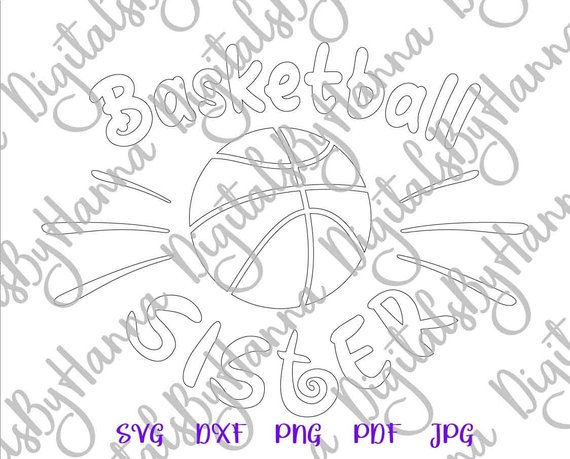 Basketball Sister SVG Loud Proud Sport Player Family Word Silhouette Laser Cut