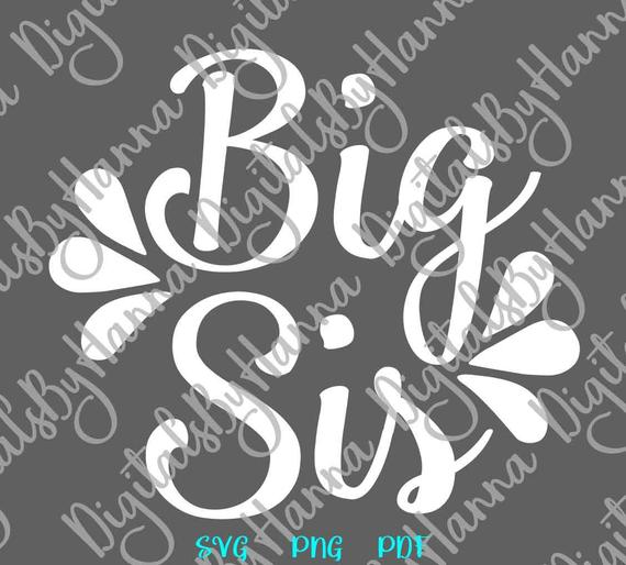 Big Sis SVG Little Sorority Reveal Promoted Sister Family Clipart Baby Birth Announcement