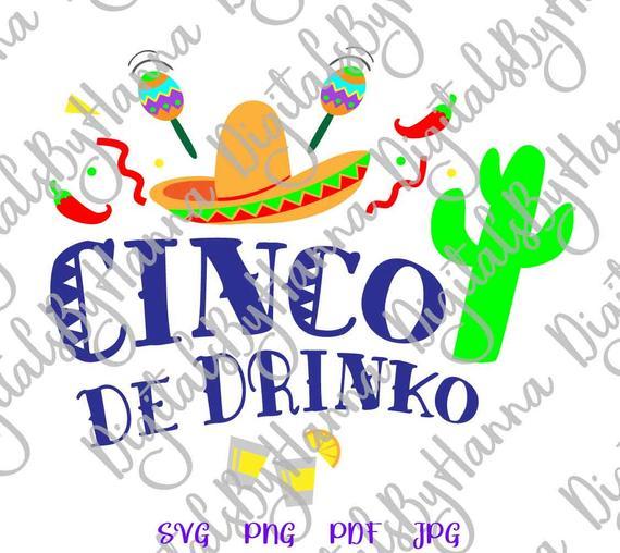 Cinco de Mayo Cinco de Drinko Mexican Fiesta Clipart t-Shirt Print Sublimation Cut