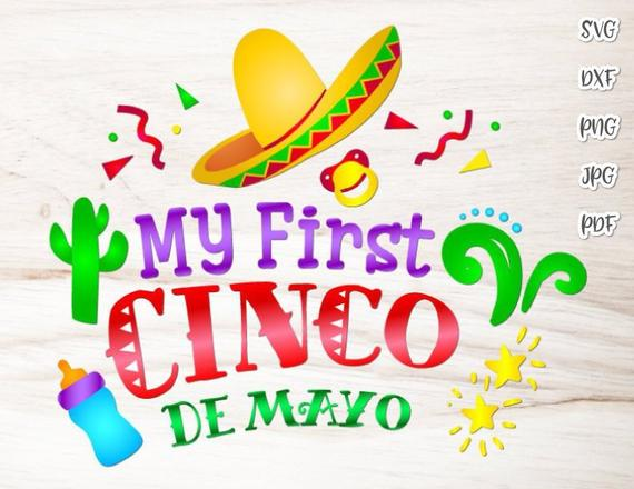 Cinco de Mayo My First Cinco Mexican Fiesta SVG Clipart Baby Onesie Outfit Print