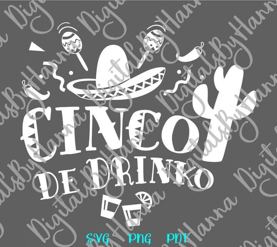 Cinco de Mayo SVG Cinco de Drinko Mexican Fiesta SVG Clipart t-Shirt Word Sign Tee