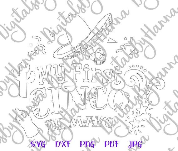 Cinco de Mayo SVG Files for Cricut Saying My First Cinco Mexican Fiesta SVG Clipart Baby Onesie