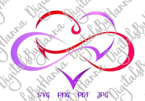 Clipart Love Between Mother and Daughter SVG Infinity Symbol Heart Print