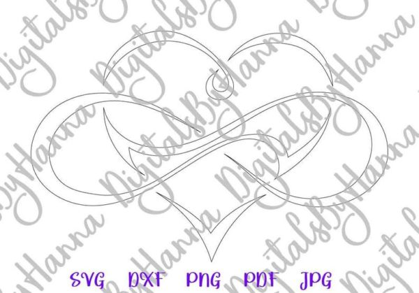 Clipart Love Between Mother and Daughter SVG Infinity Symbol Heart Sublimation Cut