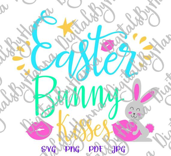 Easter Bunny Kisses SVG Lips Clipart Onesie Word Sign Cut Print Graphics