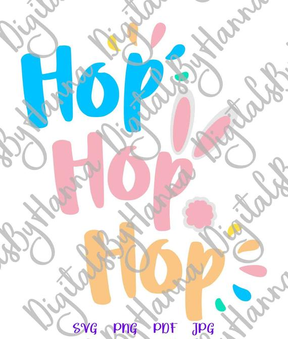 Easter SVG File for Cricut Hop Hop Hop Bunny Tail Baby Onesie t-Shirt Tale Print Clipart