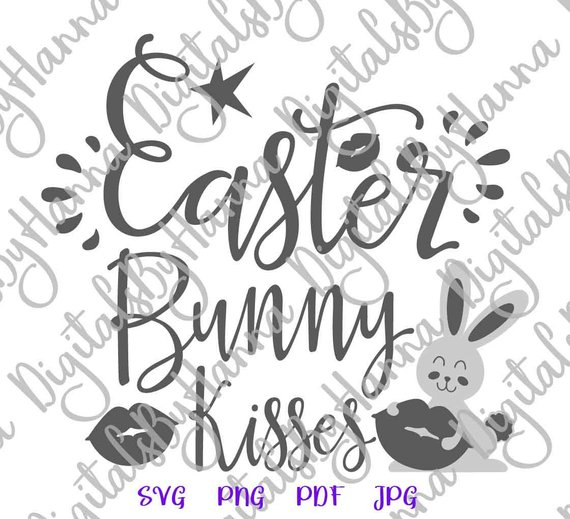 Happy Easter SVG Bunny Kisses Lips Clipart Onesie t-Shirt Word Laser Cut Vector