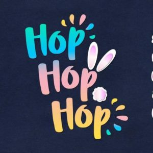 Happy Easter SVG File for Cricut Hop Hop Hop Bunny Tail Cute t-Shirt Baby Onesie Clipart