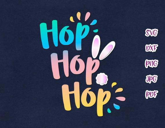 Happy Easter Svg File For Cricut Hop Hop Hop Bunny Tail Cute T Shirt Baby Onesie Svg Files For Cricut