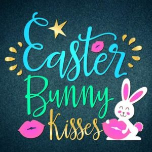 Happy Easter SVG Files for Cricut Saying Bunny Kisses Lips Clipart Onesie t-Shirt Print