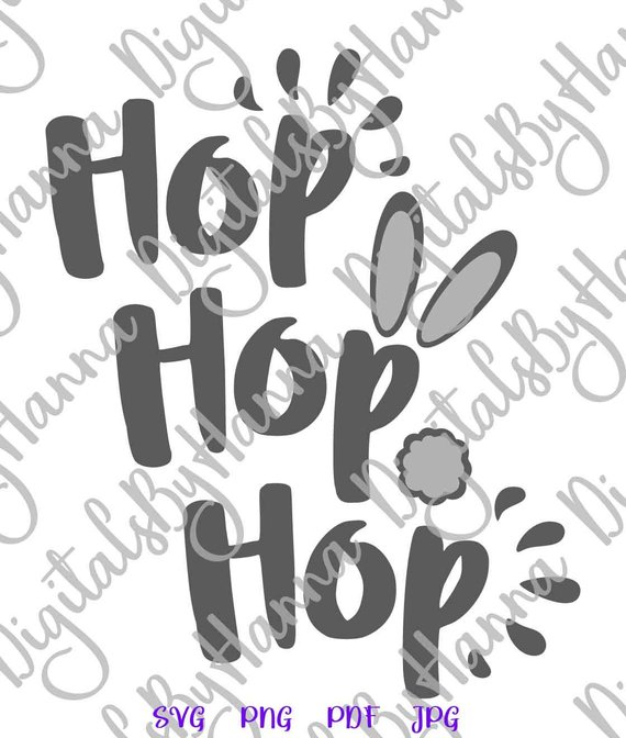 Happy Easter SVG Hop Hop Hop Bunny Tail Cute t-Shirt Baby Onesie Word Sign Laser Cut