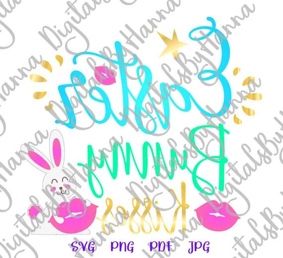 Happy Easter Saying Bunny Kisses SVG Lips Clipart Onesie t-Shirt Sign Cut Print