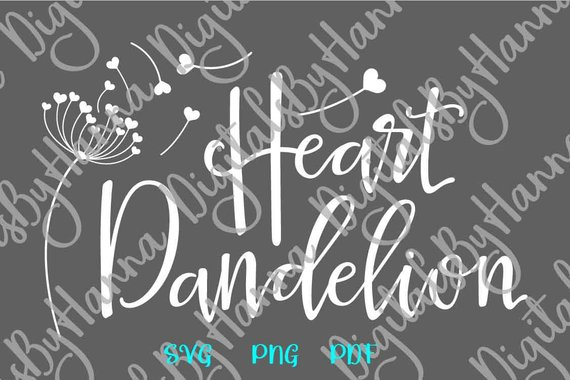 Heart dandelion SVG Wall Art Decal Clipart Sign t-shirt Cup Silhouette Laser Cut Vector