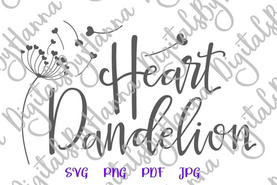 Heart dandelion SVG Wall Art Decal Vector Clipart Sign Mug Print Silhouette Laser Cut