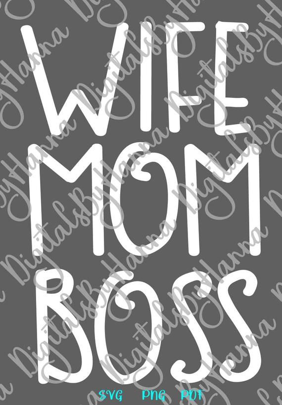 Mom Life SVG Mom Wife Boss Momlife Mommy Word Sign Letter T-Shirt Laser Cut Vector