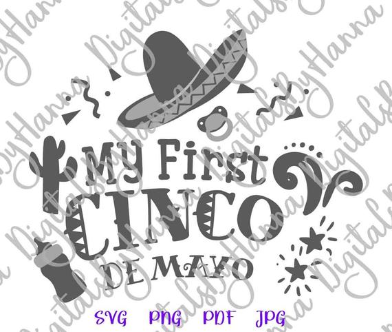 My First Cinco de Mayo Mexican Fiesta SVG Clipart Baby Onesie Outfit Sign Laser Cut