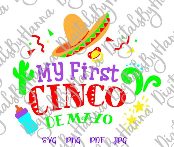 My First Cinco de Mayo SVG Mexican Fiesta Clipart Baby Onesie Outfit Cut Print Sublimation