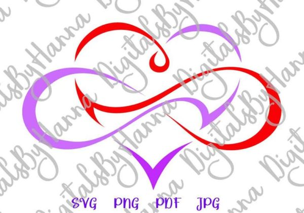 Valentine Day SVG Clipart Love Between Mother and Daughter Infinity Symbol Heart Print