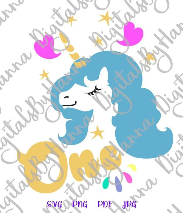 1st Birthday One Unicorn SVG Face Head First Year Invitation Clipart Sign Onesie Cut Print