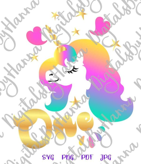 1st Birthday SVG Clipart One Unicorn SVG Face Head First Year Invitation Sublimation