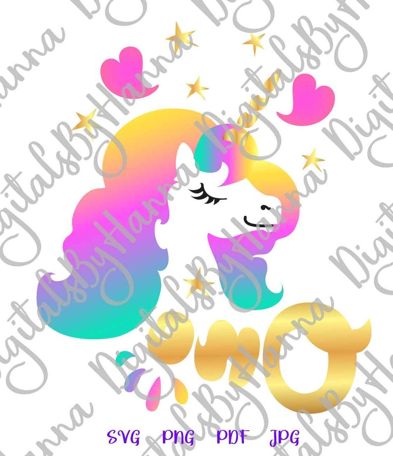 1st Birthday Svg One Unicorn Clipart Face Head First Year