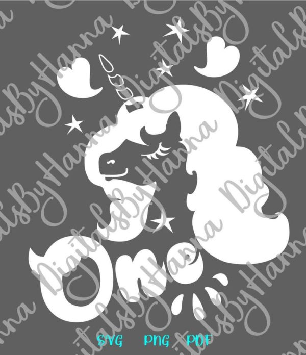 1st Birthday SVG Files for Cricut Saying One Unicorn SVG Face Head First Year Invitation