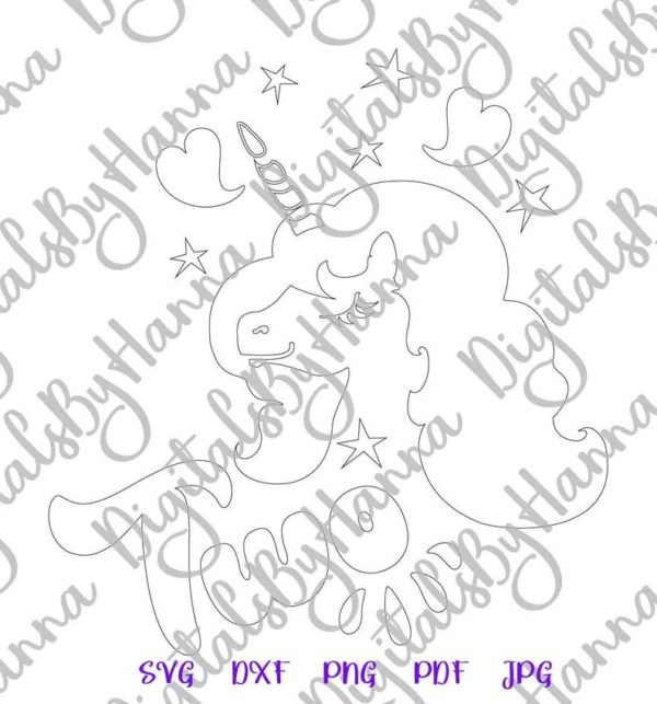 2nd Birthday SVG Files for Cricut Saying Two Unicorn Second Year Invitation Cut Print Sublimation