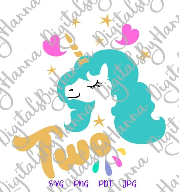 2nd Birthday SVG Files for Cricut Saying Two Unicorn Second Year Invitation Sign Onesie Print Sublimation