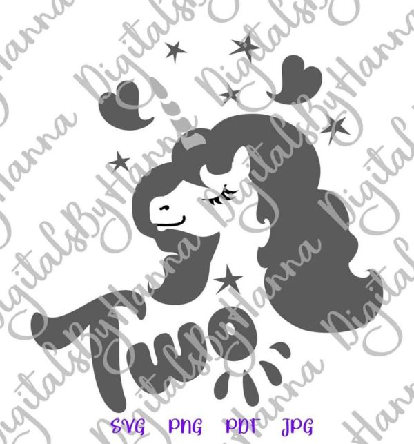 2nd Birthday SVG Files for Cricut Two Unicorn Face Head Second Year Invitation Outfit Cut Print