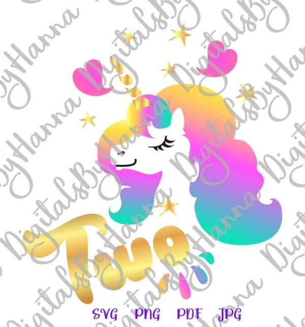 2nd Birthday Two Unicorn SVG Face Head Second Year Invitation Onesie Tee Outfit Word Cut Print