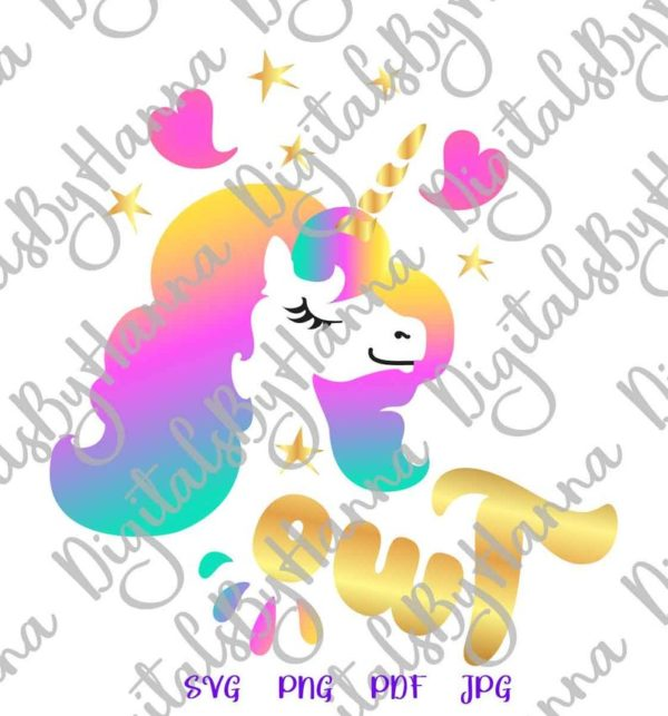 2nd Birthday Two Unicorn SVG Second Year Invitation Outfit Word Cut Print Sublimation