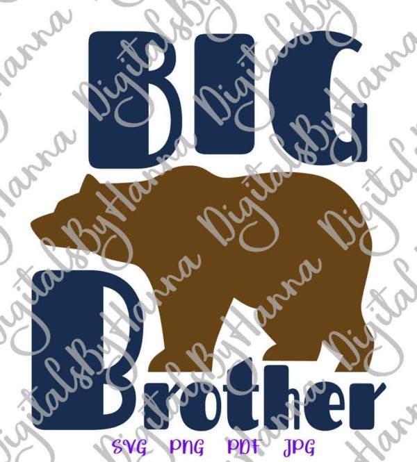 Bear Family Big Brother SVG New Baby Shower t-Shirt Mug Cut Print Sublimation
