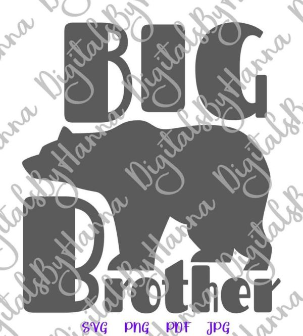 Bear Family SVG Big Brother New Baby Shower Promoted Bro Tee Shirt Mug Print Clipart